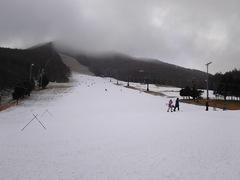シーズン7日目 エコー4回目。 朝は冷え込んでいました♪ 昨夜降雪機動かしたようで、昨日の春雪っぽい湿り気はなくていい粉雪でした♪ 連休中日なので混むかと思いきや空いてました。 朝1番乗りリフトから30分間8本、アルペンボードで気持ち良く滑り、そのあとクリスマス企画のワンコインレッスンにスキーで参加しました。 なかなか良い企画♪  午後には粉雪降ってきて、草原だったところが白くなってきてました♪