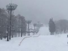 3月下旬にしては珍しく雪。 上の子と初級コースを滑る。
