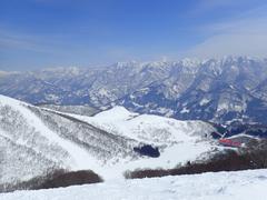 前日から気温が上がり、この日も気温が高かった。 案の定、朝、数本滑った後は斜面が荒れて、どうしようもなかった。 唯一気持ちよく滑れたのは、稗田山コースの3だ。ここは急斜面過ぎて、ファミリーが入ってこないために、圧雪された斜面が痛みにくかった。 とはいえ、これほどの急斜面になると、落とされるばかりで、なかなかスキーらしいスキーにならなかったけど・・・。 前日の岩岳も、夕方に気温が上がり、シャーベットになって水が浮いてきた場所では、板が止まってしまったので、この日は春スキー用のワックスにかえてみた。すると、安い生塗り用のワックスでも、けっこう効果があった。ワックスって大事だ!
