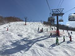 二日間とも晴天に恵まれた。  積雪が豊富なかぐらスキー場は、ガーラとは雪の色からして違う。 当然、この時期になると、水が浮いて黒い雪も増えるが、そうでない場所での雪の白さが際立つ。 もうひとつ違うのは、午後になると、山全体が不整地斜面と化す所だ。 しかもコースが長いから、ハードさが段違いだ。  それゆえ、マニアックなスキーヤー/スノーボーダーも多い。  自分もそんな中に混じって、いつもより控えめに滑った。  一日滑っていると、腰も足も悲鳴を上げてくる。  今シーズンは終盤に腰を痛めたために、 大好きな春スキーは少し消化不良だったけど 最後は天気も良く、気温も高く、楽しい滑り納めができた。  来年は、もっとコブを攻められるようにしたい。