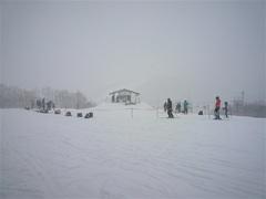 猛烈な雪降りの中スキー大会が催されていました。 視界が悪く大変そうでした。