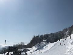 一人スキー。 黙々と練習する。