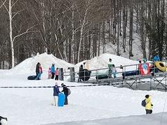 家族でスキー。 長男の練習に付き合う。